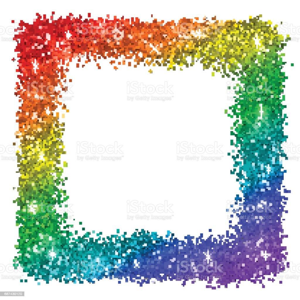 Ilustración de Marco Cuadrado Multicolor Brillo Colores Del Arco ...