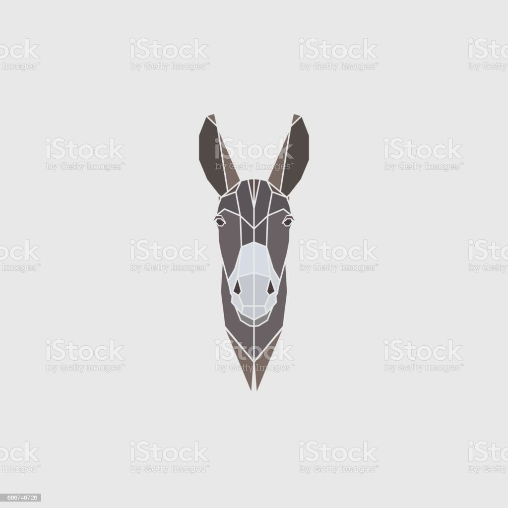 Multicolor head donkey on gray background. Polygonal style. Vector illustration. vector art illustration