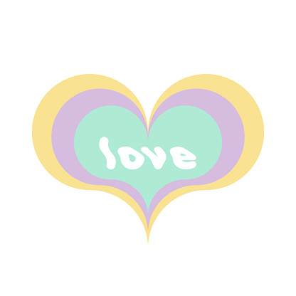 """Multicolor heart shape with the word """"love"""". Sixties style. Pastel colors. Vector illustration, flat design"""