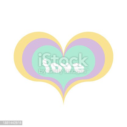 """istock Multicolor heart shape with the word """"love"""". Sixties style. Pastel colors. Vector illustration, flat design 1331442515"""