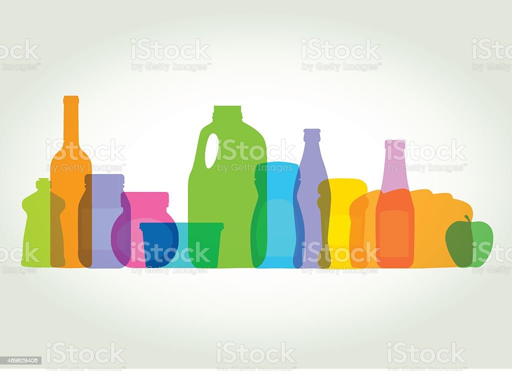 Multicolor household products and food silhouettes vector art illustration