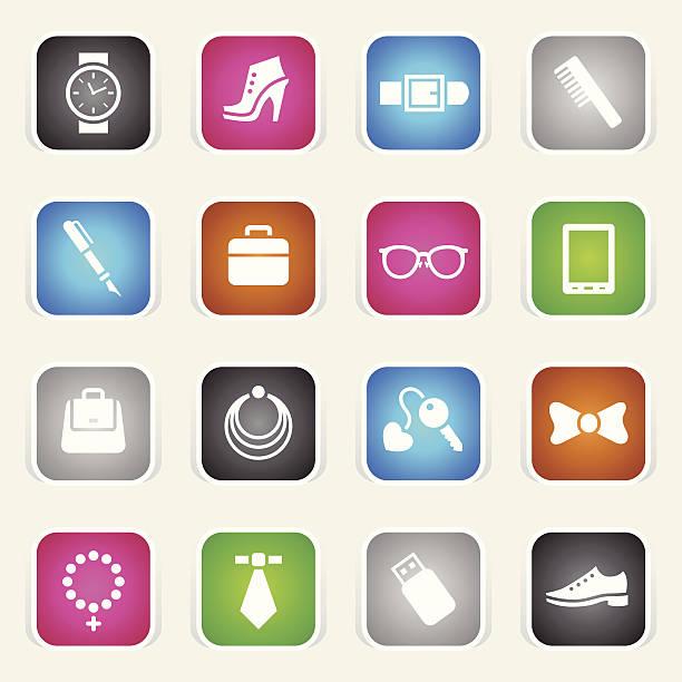mehrfarbig icons-accessoires - kreuzkette stock-grafiken, -clipart, -cartoons und -symbole