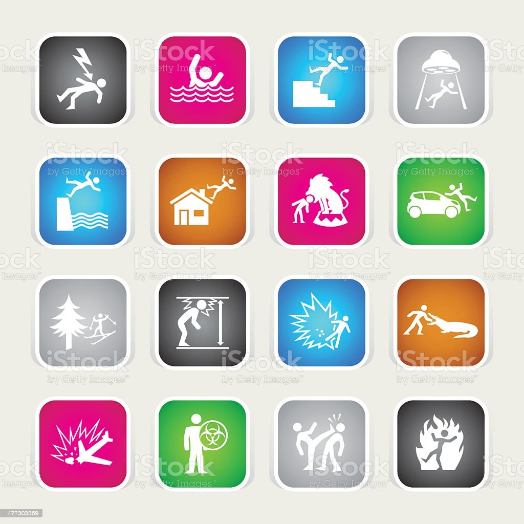 Multicolor Icons - Accidents royalty-free multicolor icons accidents stock vector art & more images of accidents and disasters