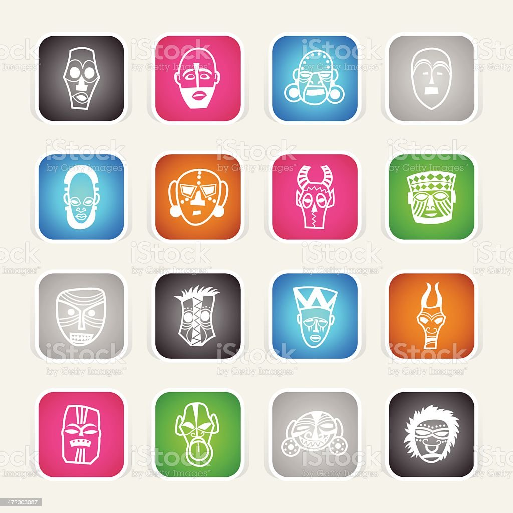 Multicolor Icons - African Masks royalty-free stock vector art