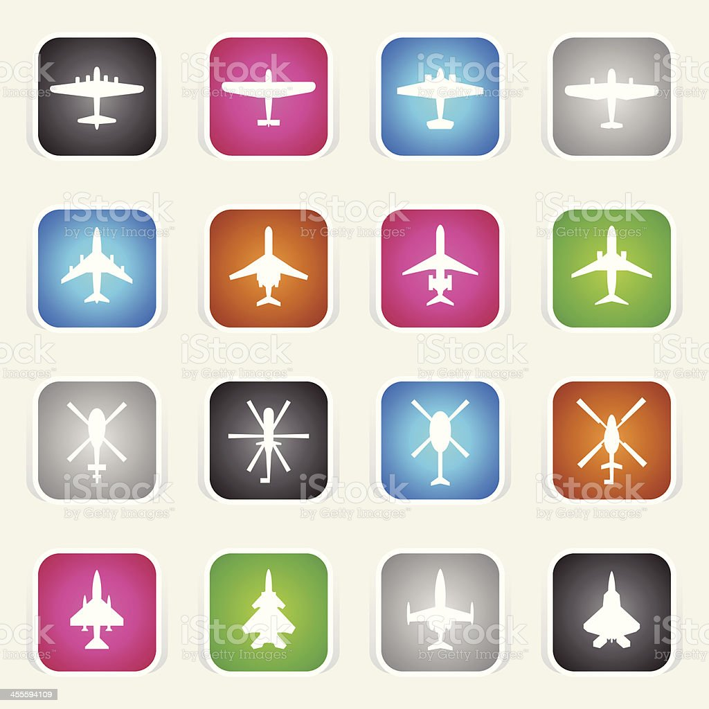 Multicolor Icons - Airplanes & Helicopters vector art illustration
