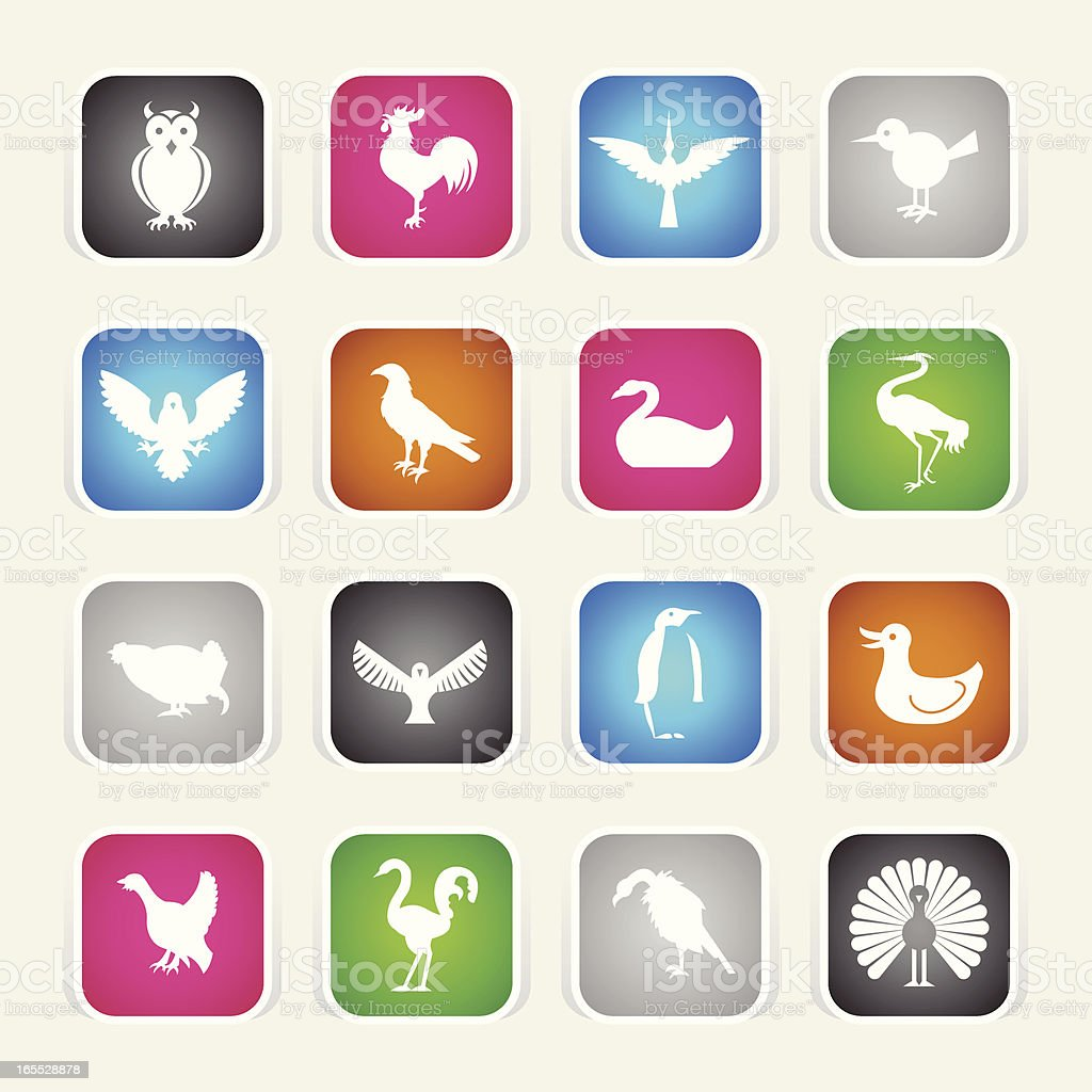 Multicolor Icons - Birds royalty-free stock vector art