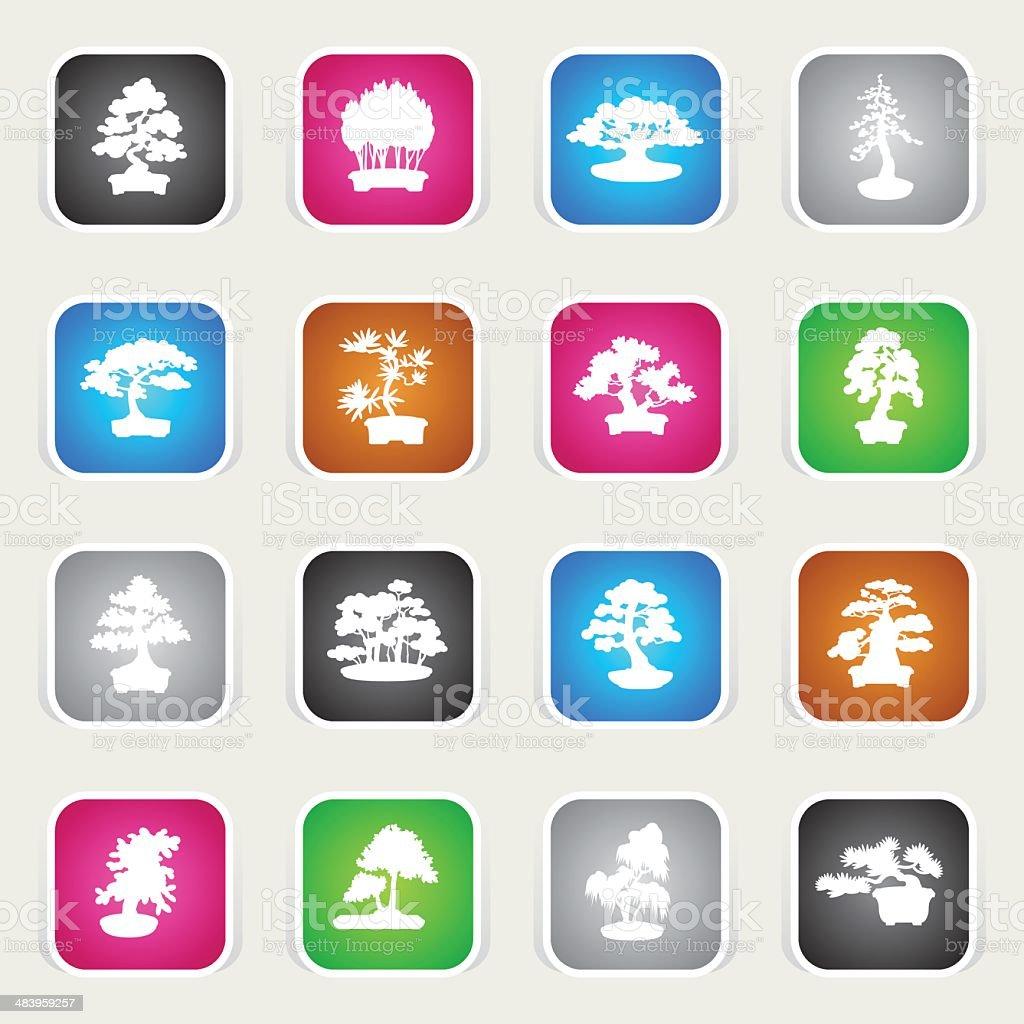 Multicolor Icons - Bonsais royalty-free stock vector art