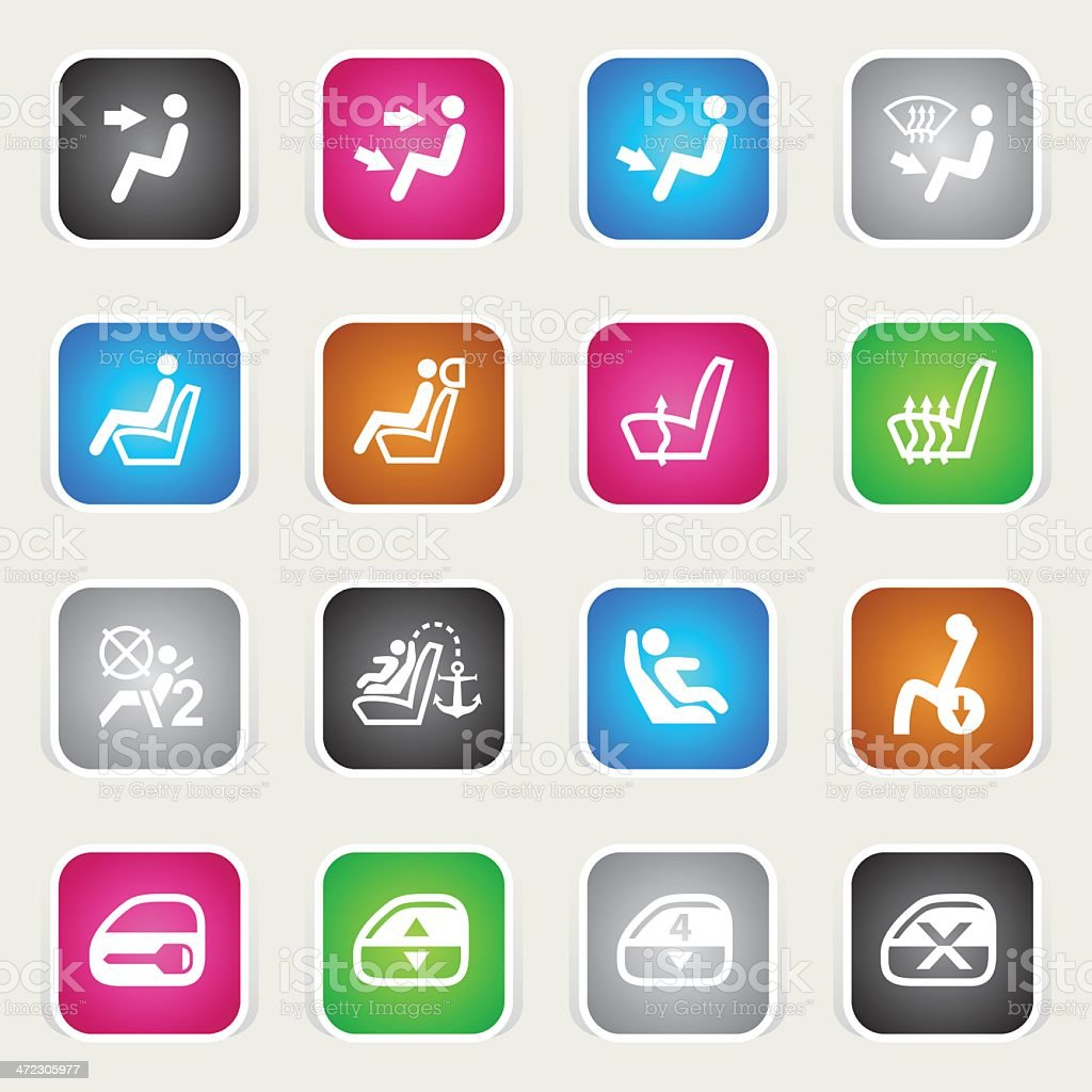 Multicolor Icons - Car Control Indicators royalty-free stock vector art