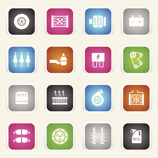 Multicolor Icons - Car Maintenance vector art illustration