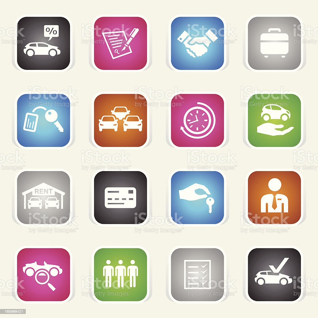 Multicolor Icons - Car Rental royalty-free multicolor icons car rental stock vector art & more images of adult