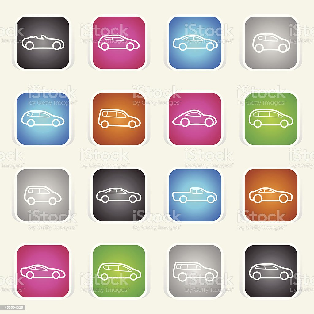 Multicolor Icons - Cars Outlines royalty-free stock vector art