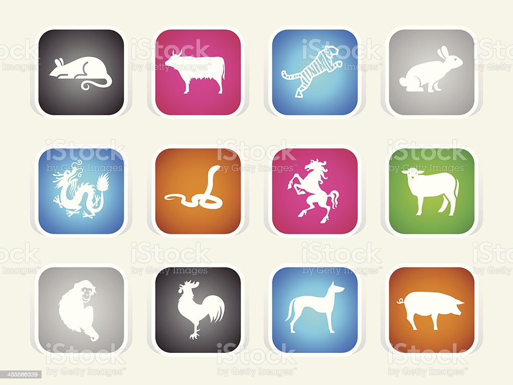 Multicolor Icons - Chinese Zodiac royalty-free stock vector art