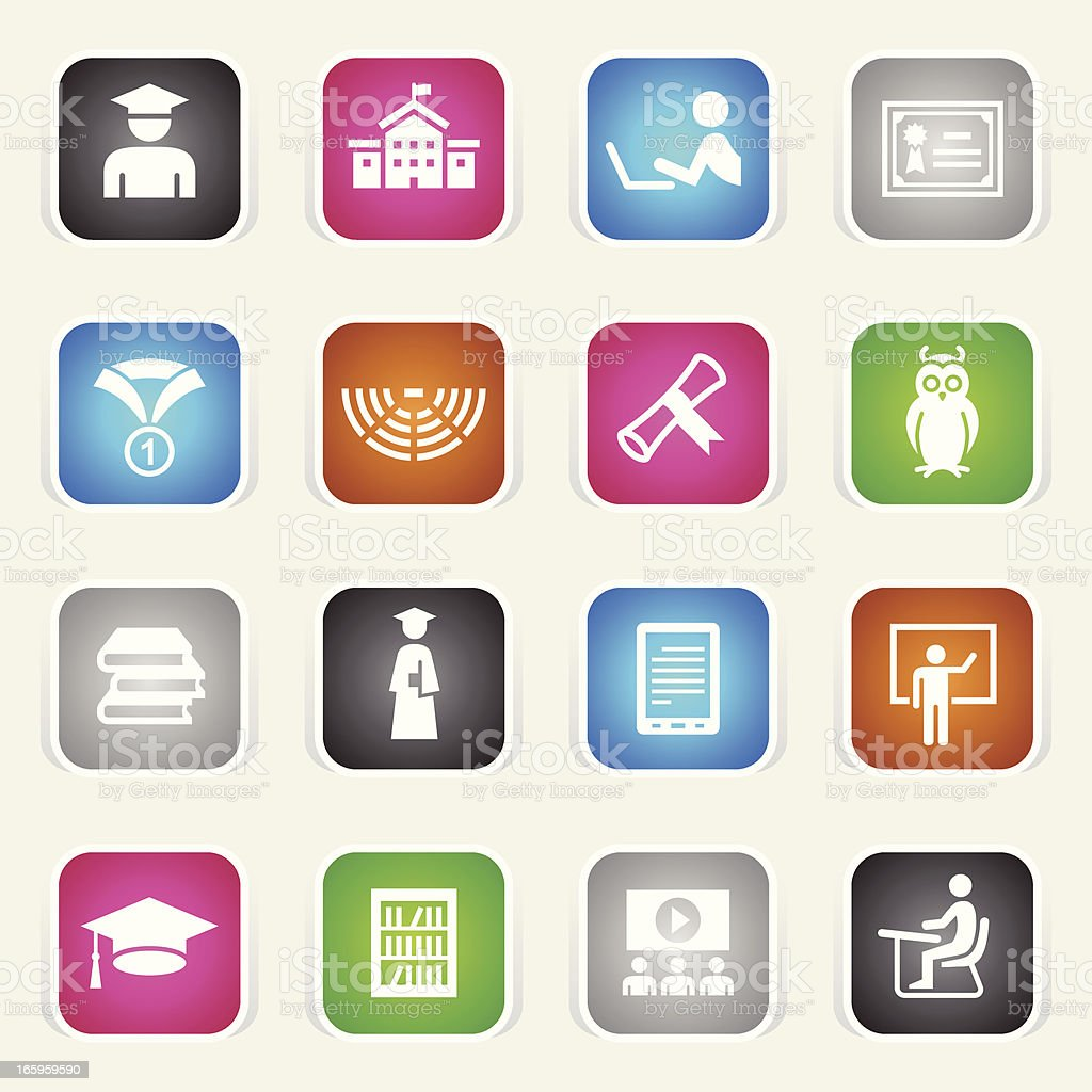 Multicolor Icons - College & Students vector art illustration