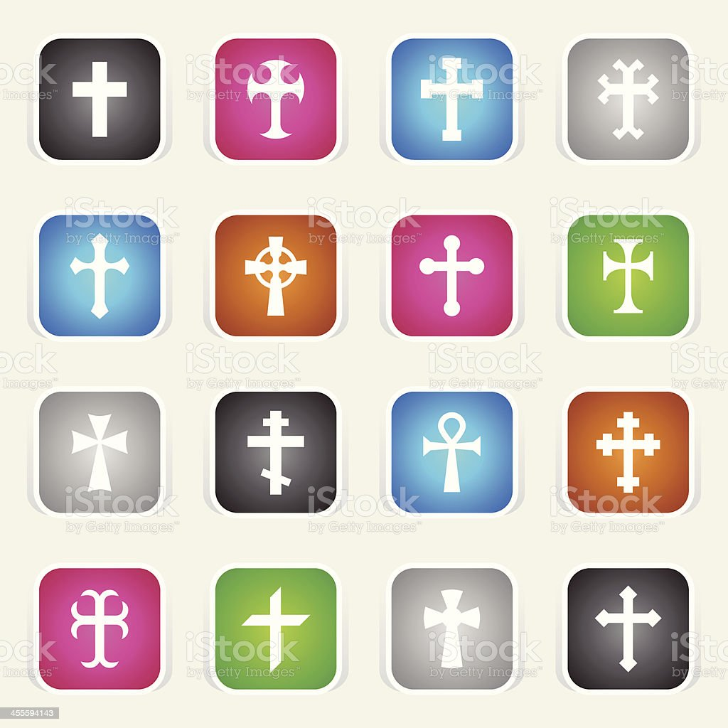 Multicolor Icons - Crosses royalty-free stock vector art