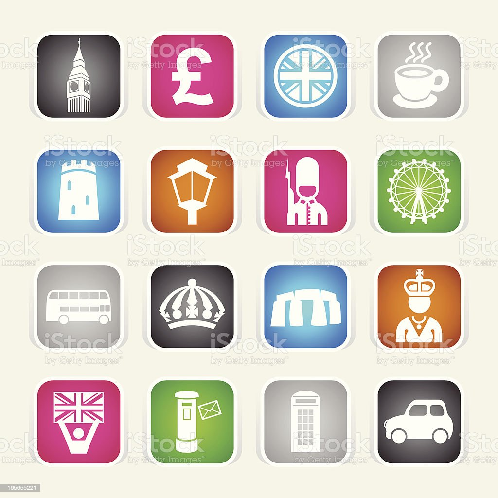 Multicolor Icons - England royalty-free stock vector art