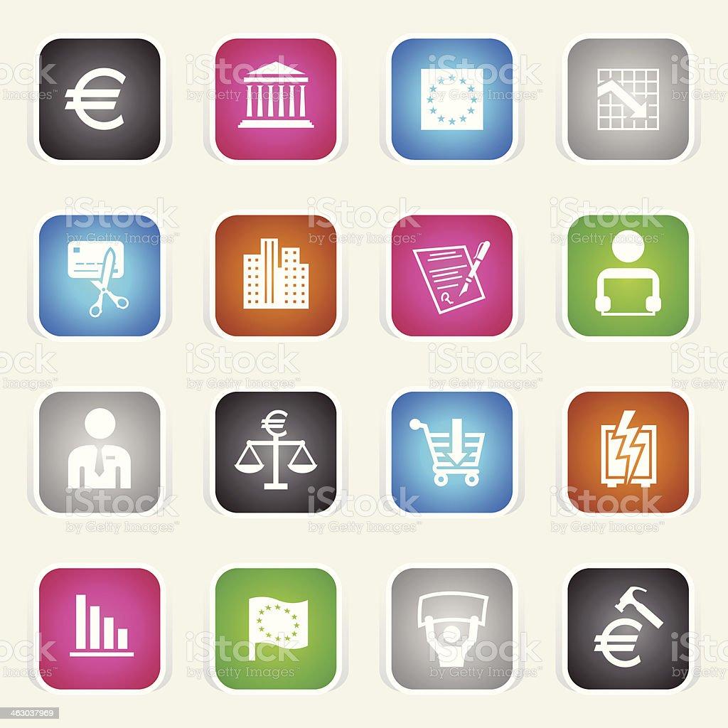 Multicolor Icons - European Union Recession royalty-free stock vector art