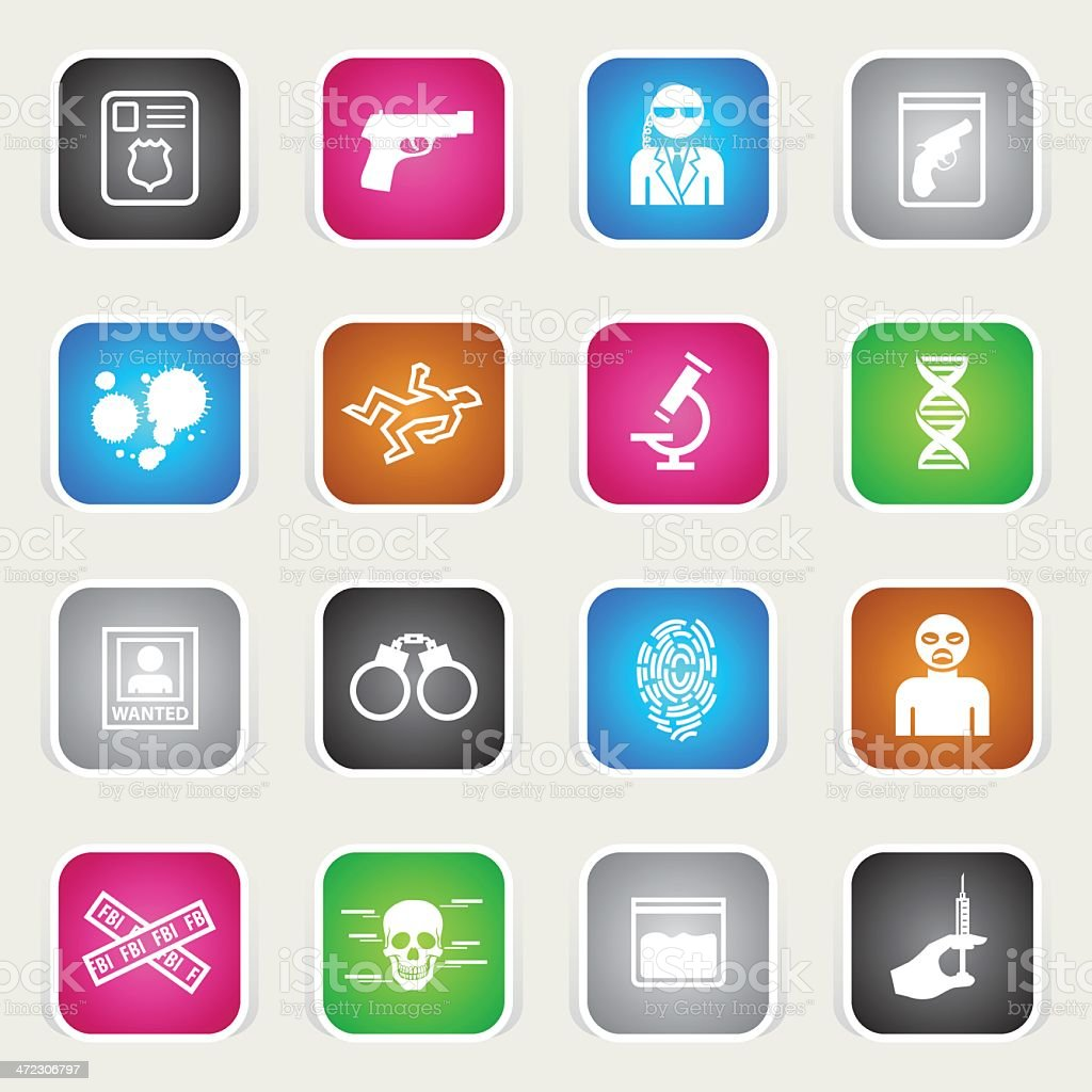 Multicolor Icons - FBI & Forensics royalty-free stock vector art