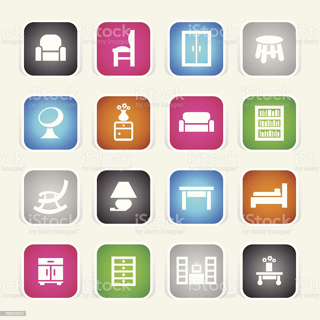 Multicolor Icons - Furniture royalty-free stock vector art