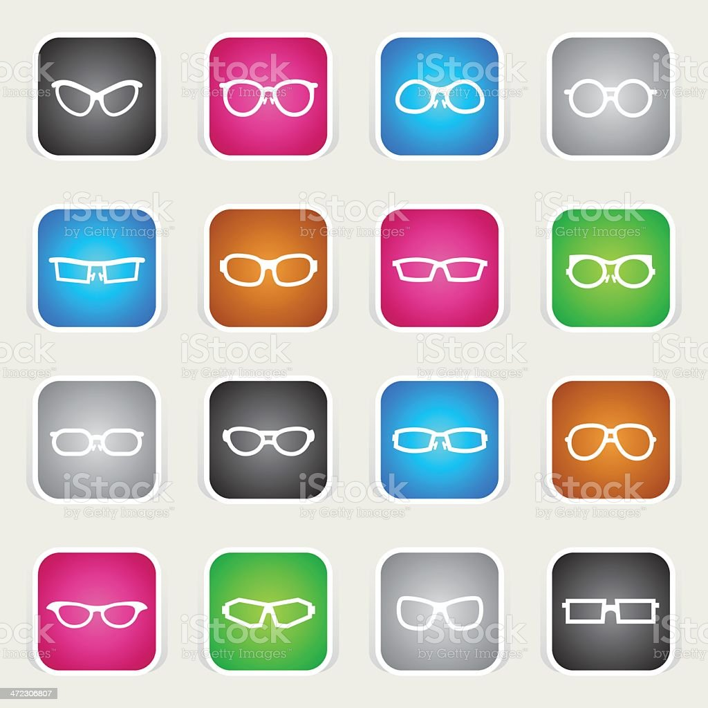 Multicolor Icons - Glasses royalty-free multicolor icons glasses stock vector art & more images of 3-d glasses