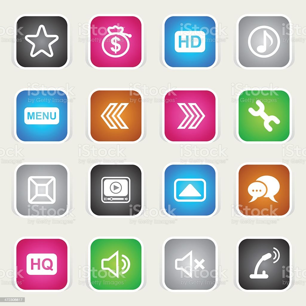 Multicolor Icons - iPlayer Interface royalty-free stock vector art