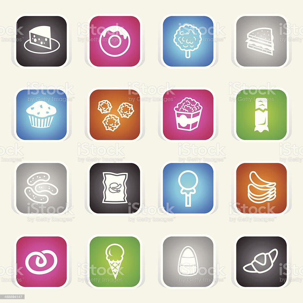 Multicolor Icons - Junk Food royalty-free stock vector art