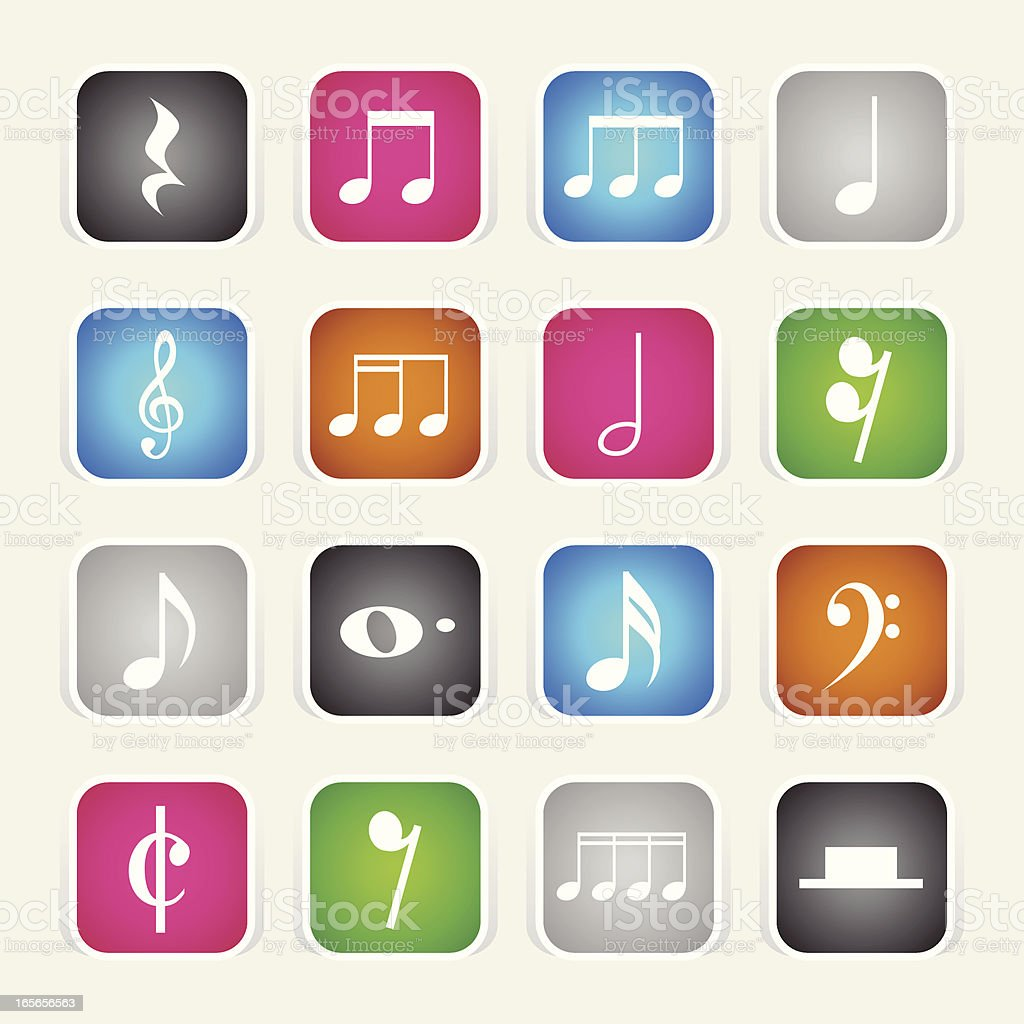 Multicolor Icons - Musical Notes royalty-free stock vector art