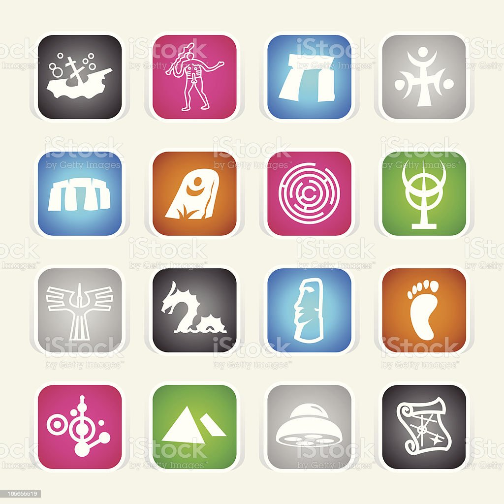 Multicolor Icons - Mysteries vector art illustration