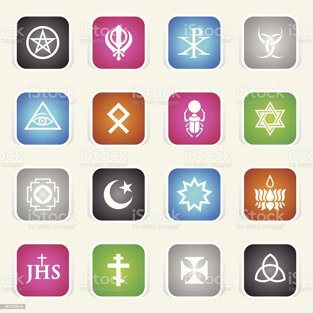 Multicolor Icons - Religious Symbols royalty-free stock vector art
