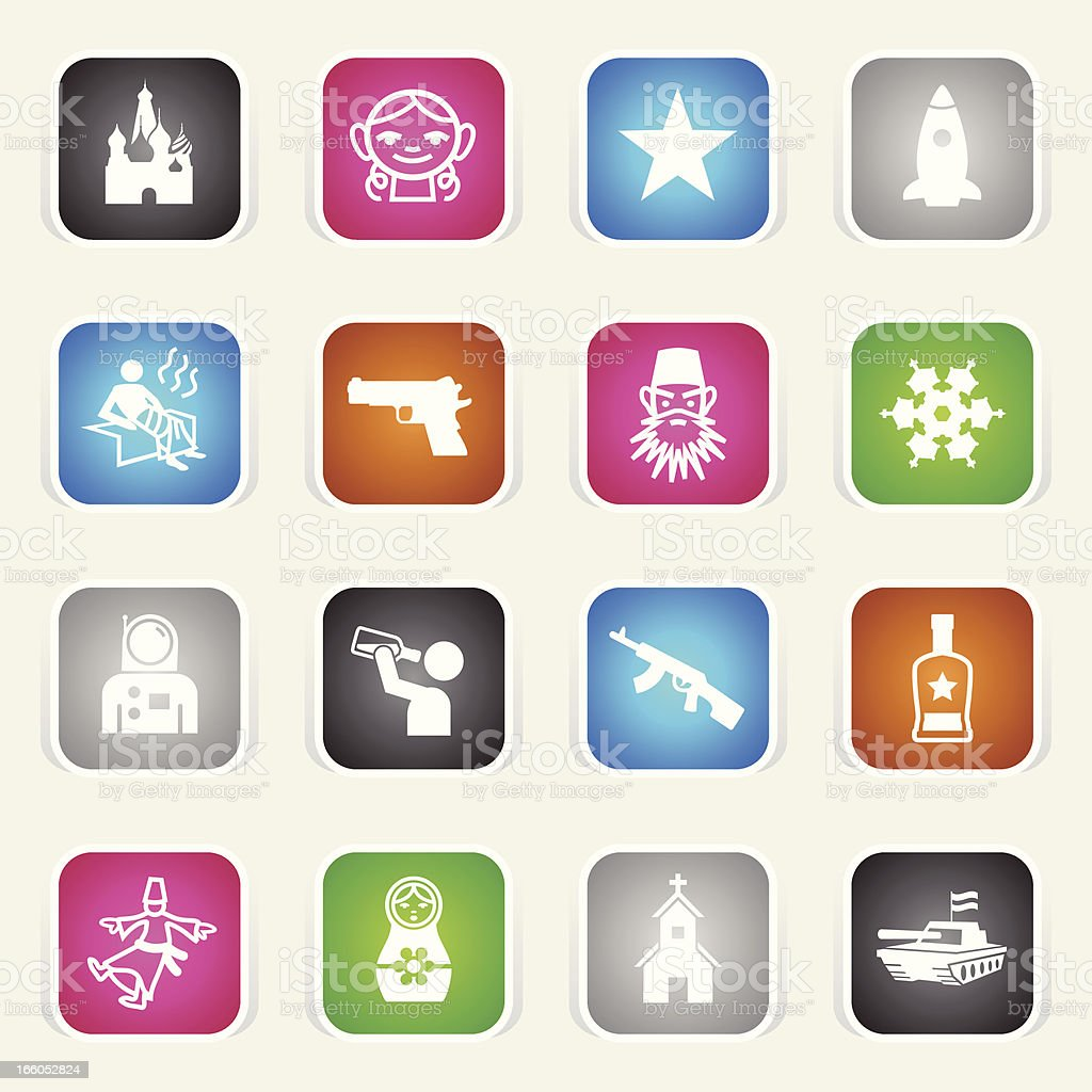 Multicolor Icons - Russia royalty-free multicolor icons russia stock vector art & more images of ak-47