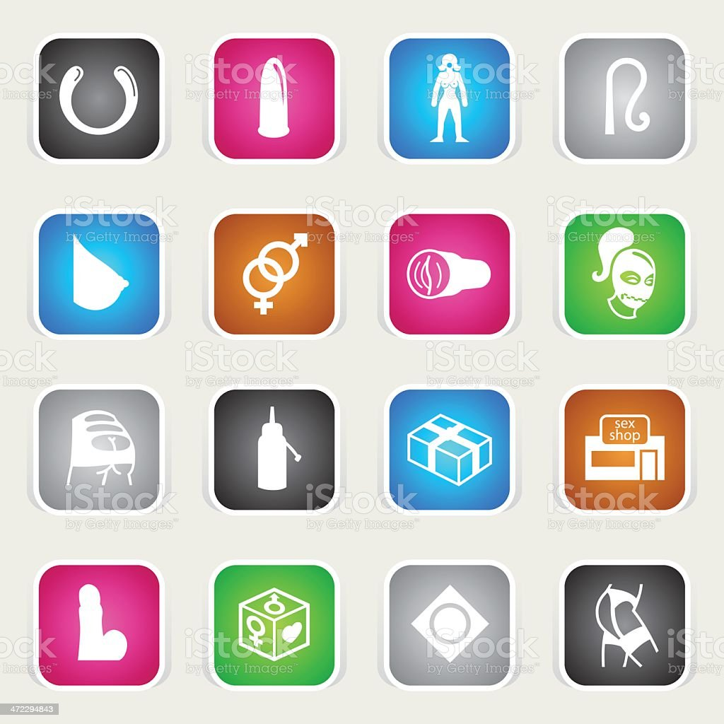 Multicolor Icons - Sex Shop vector art illustration