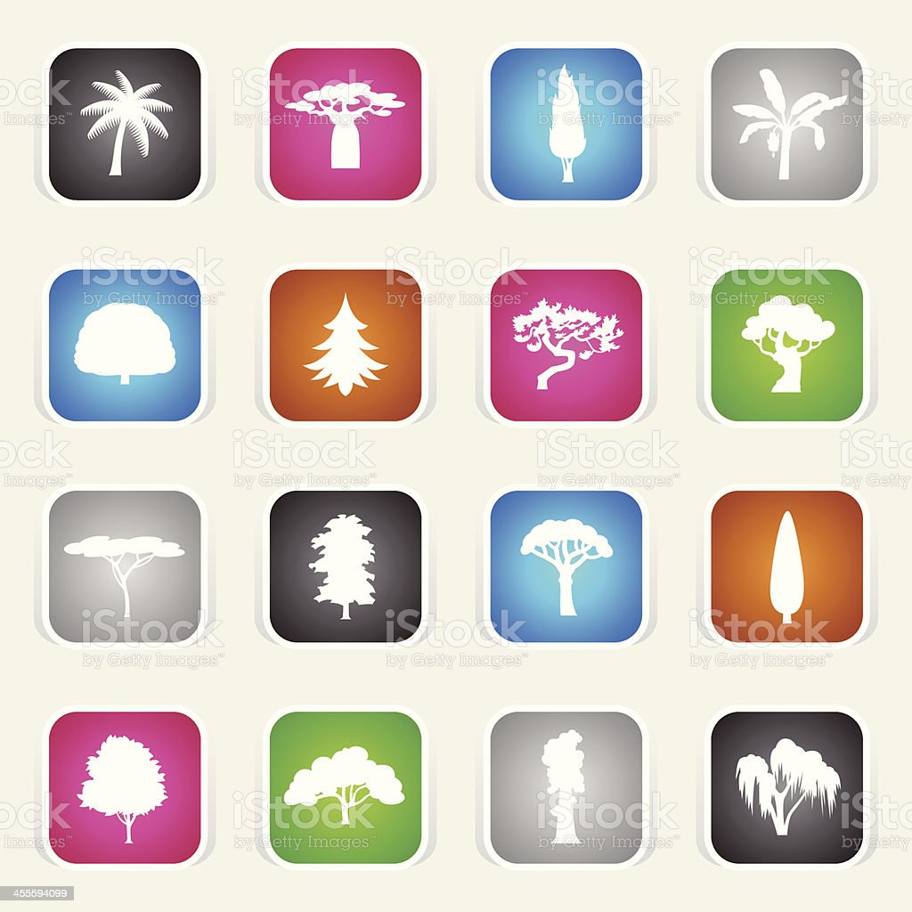 Multicolor Icons - Trees royalty-free stock vector art
