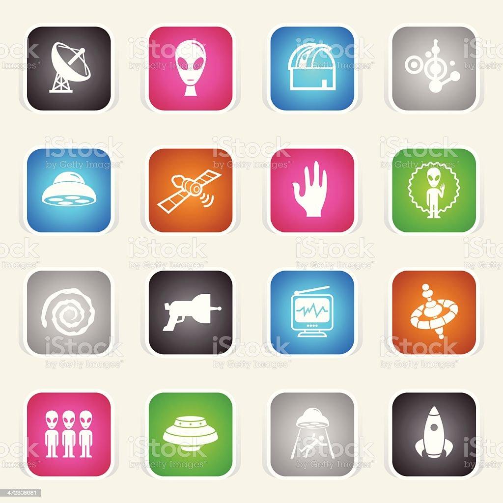 Multicolor Icons - UFO vector art illustration