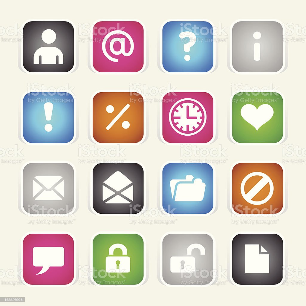 Multicolor Icons - Web royalty-free multicolor icons web stock vector art & more images of 'at' symbol