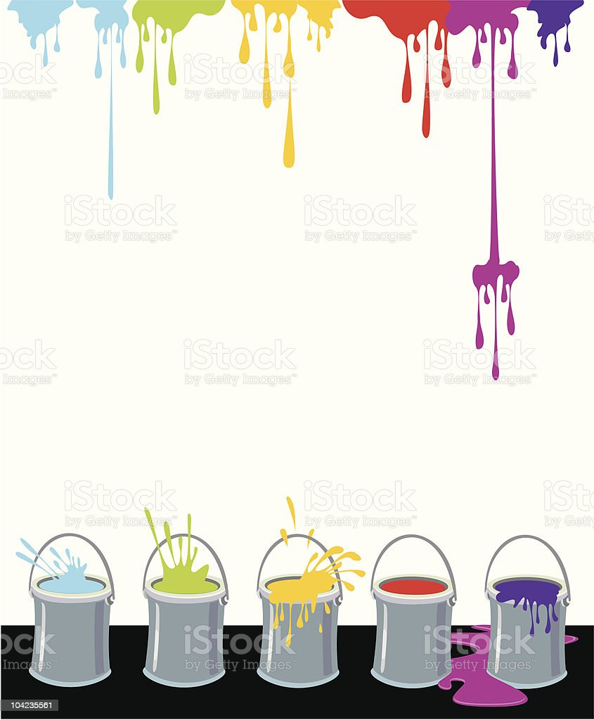 Multicolor Inkdrops and Paint Boxes royalty-free stock vector art