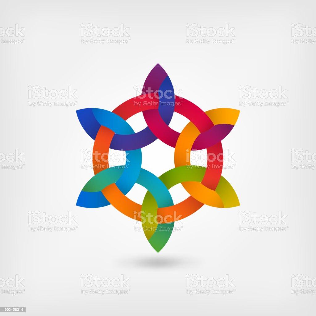 wielokolorowy przeplatający się abstrakcyjny symbol w kręgu - Grafika wektorowa royalty-free (Spleciony - Położenie)