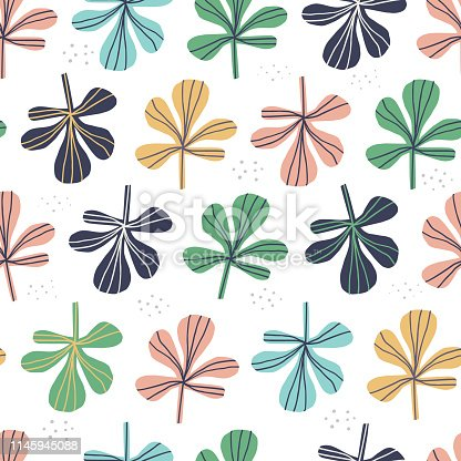 Multicolor leaves vector seamless pattern. Hand drawn pink, yellow, blue succulent twigs backdrop. Five leaf clovers on white backdrop in scandinavian style. Herbs cartoon color wrapping paper