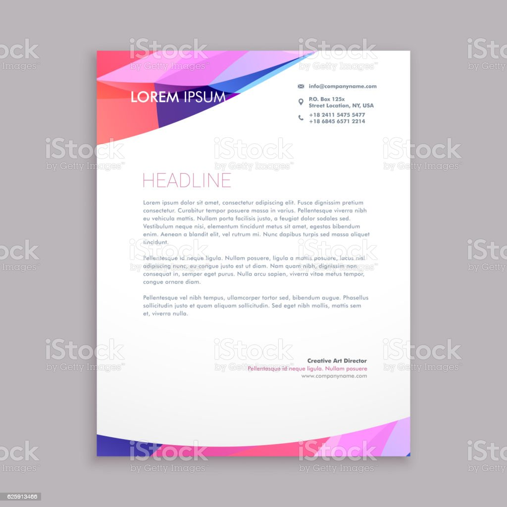 multicolor letterhead business template vector design illustrati