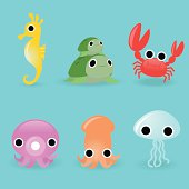 Vector illustration of six different sea creatures.