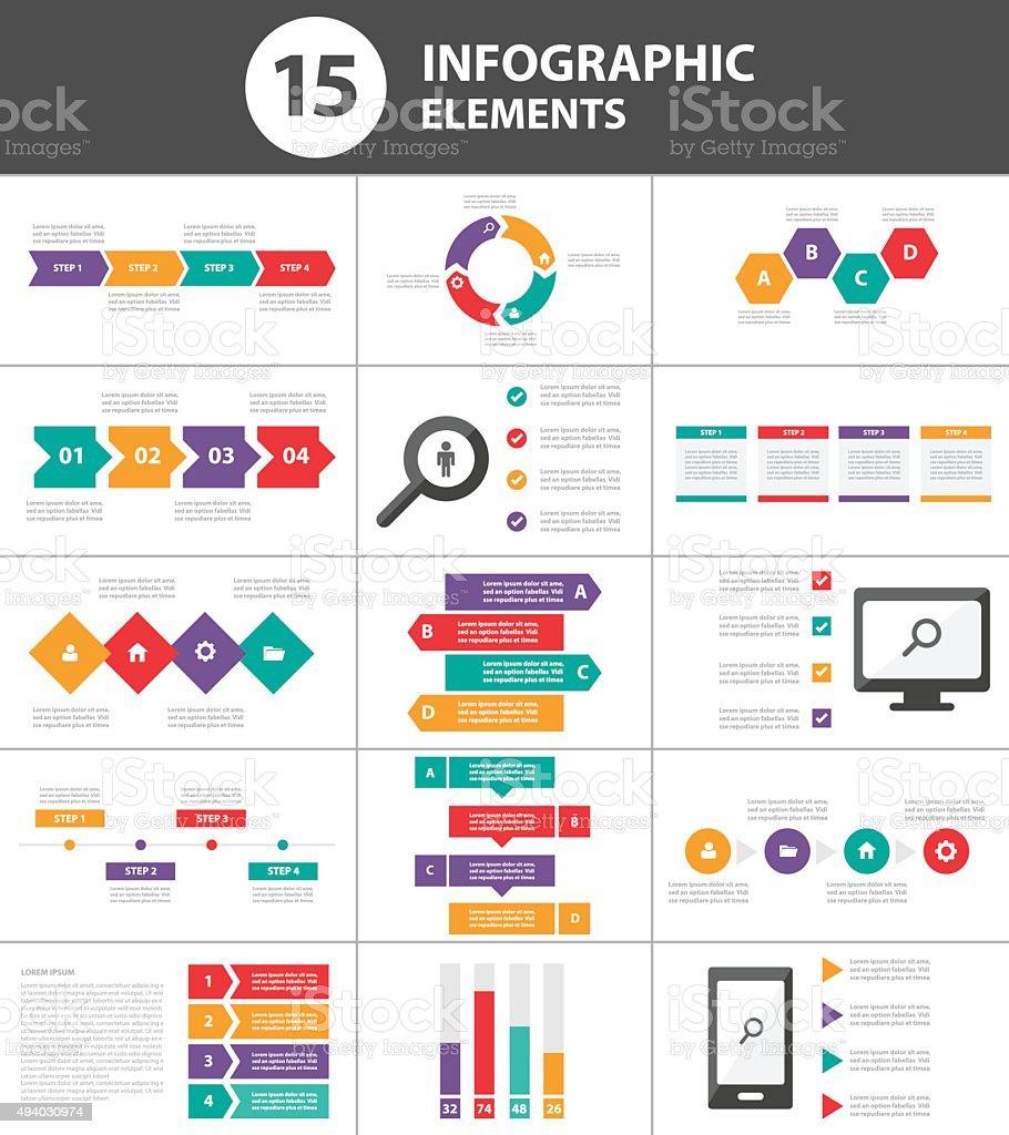 Multicolor Multipurpose Infographic elements presentation template flat design vector art illustration