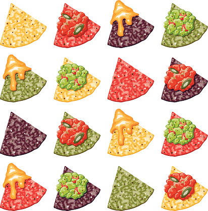 Multicolor Nacho Corn Chip Icons With Toppings