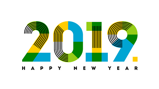 Multicolor numbers 2019 with stripes and happy New Year greetings isolated on white background