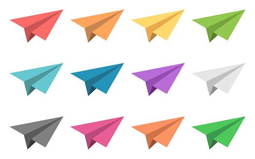 Multicolor paper planes set