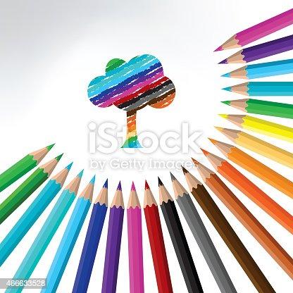 istock multicolor pencil and tree-illustration 466633528