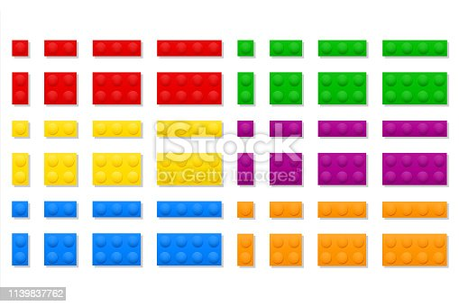multicolor plastic constructor for children's educational games stock vector illustration isolated on white background