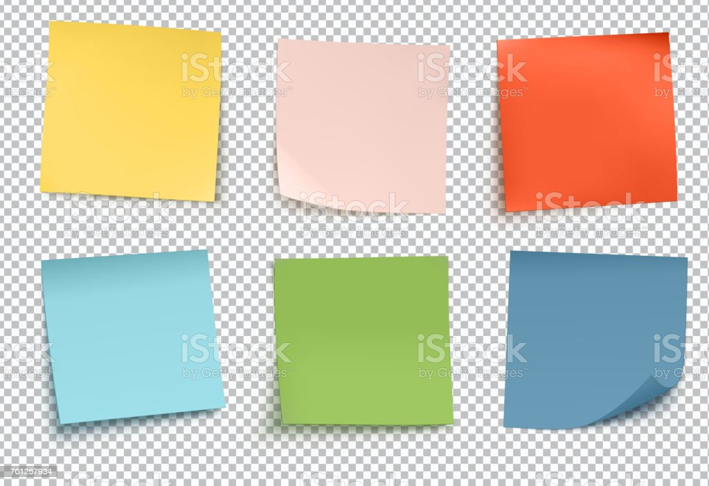 multicolor post it notes vector art illustration