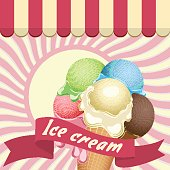 Multicolor poster - large wafer ice cream cone with name and marquise