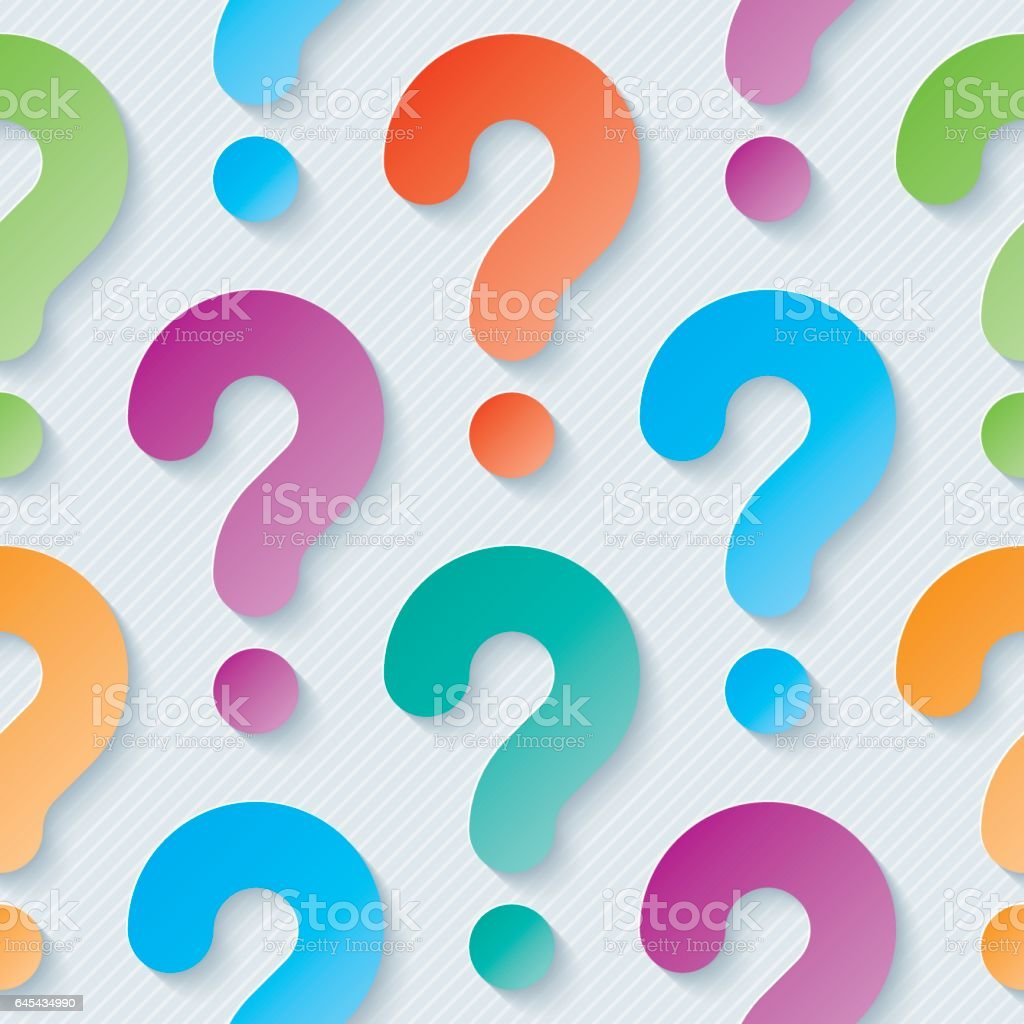 Multicolor Question Marks Seamless Wallpaper Pattern Stock
