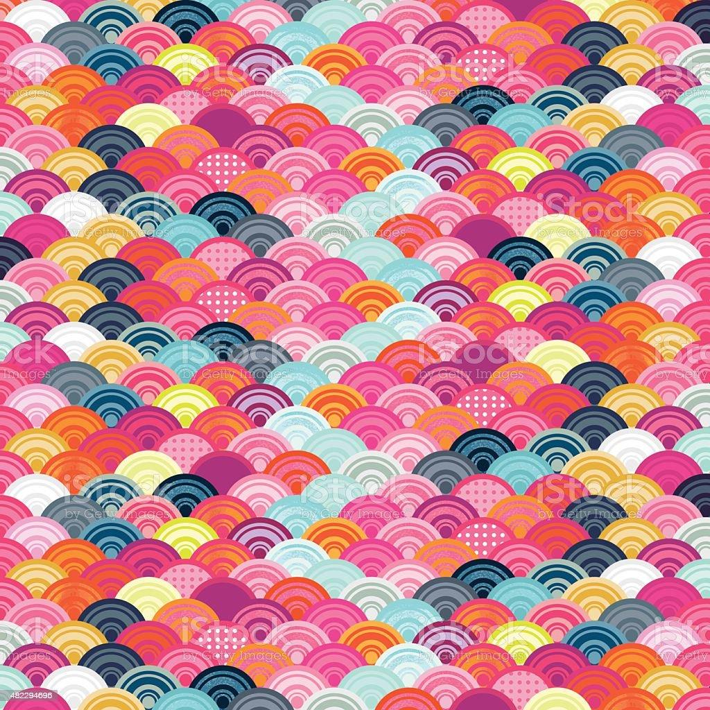 Multicolor scallop patterned background vector art illustration