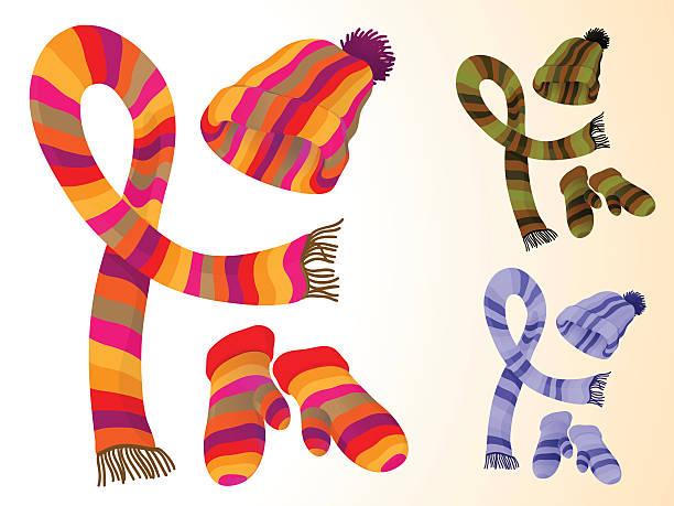 accessoires für den winter - schals stock-grafiken, -clipart, -cartoons und -symbole