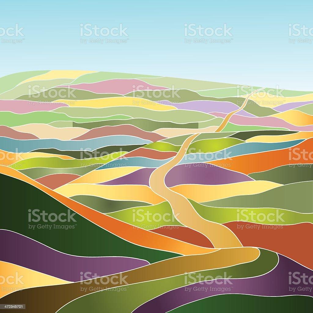 Multicolor summer landscape royalty-free stock vector art